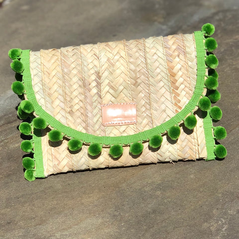 Penelope Green Pom Pom Trim Straw Clutch