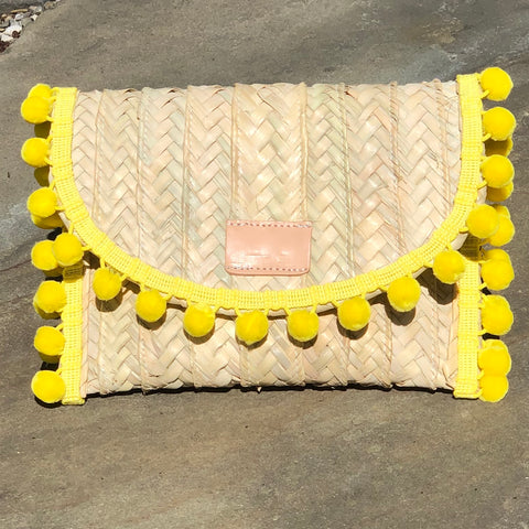 Penelope Yellow Pom Pom Trim Straw Clutch