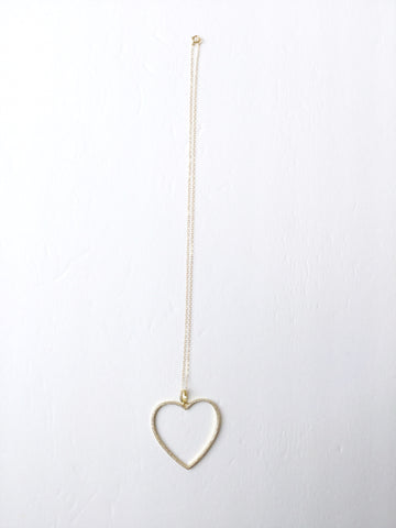 Gold Pavé Open Heart Necklace