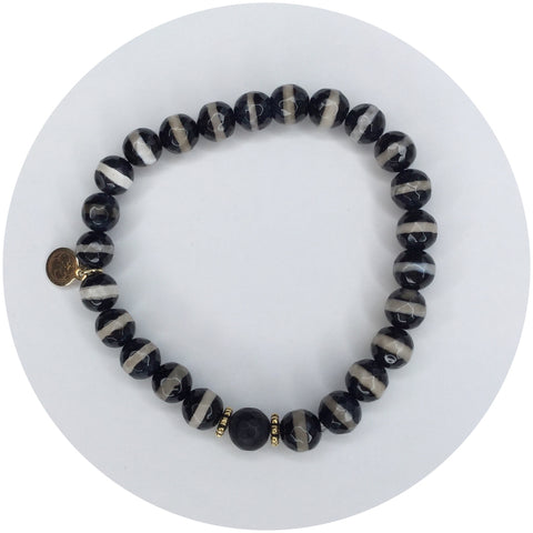 Mens Tibetan Black Zebra Agate with Black Onyx