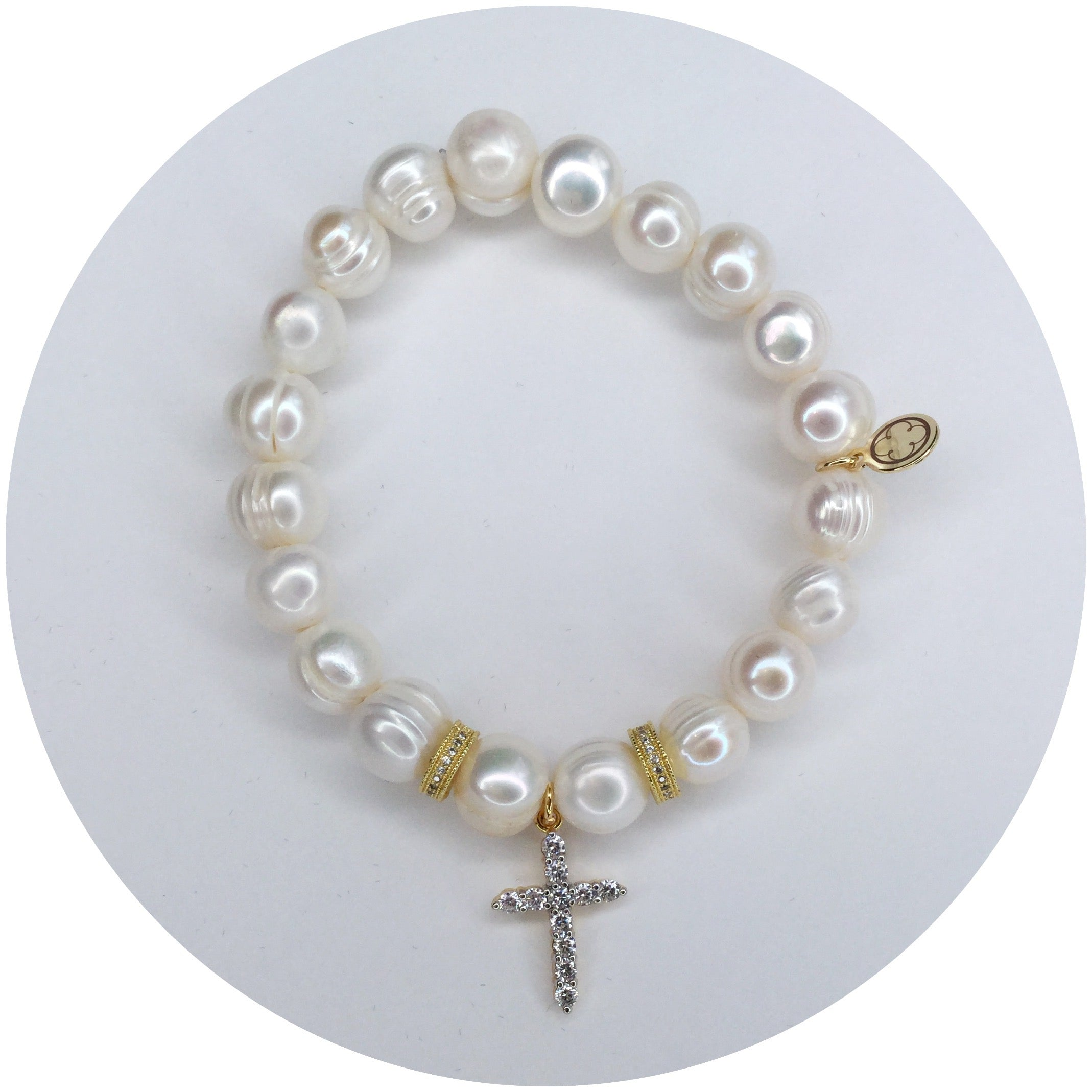Children's Freshwater Pearls with Pavé Cross Pendant - Oriana Lamarca LLC