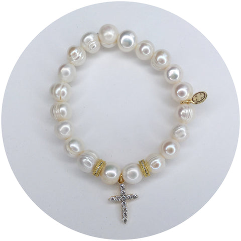Children's Freshwater Pearls with Pavé Cross Pendant