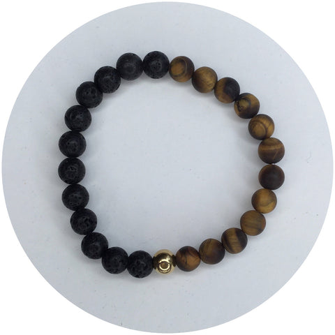 Mens Matte Tiger Eye and Black Lava