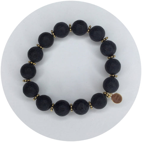 Matte Black Onyx with Gold Daisies