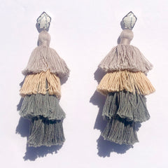 Tula Taupe Ombré Tassel Earring