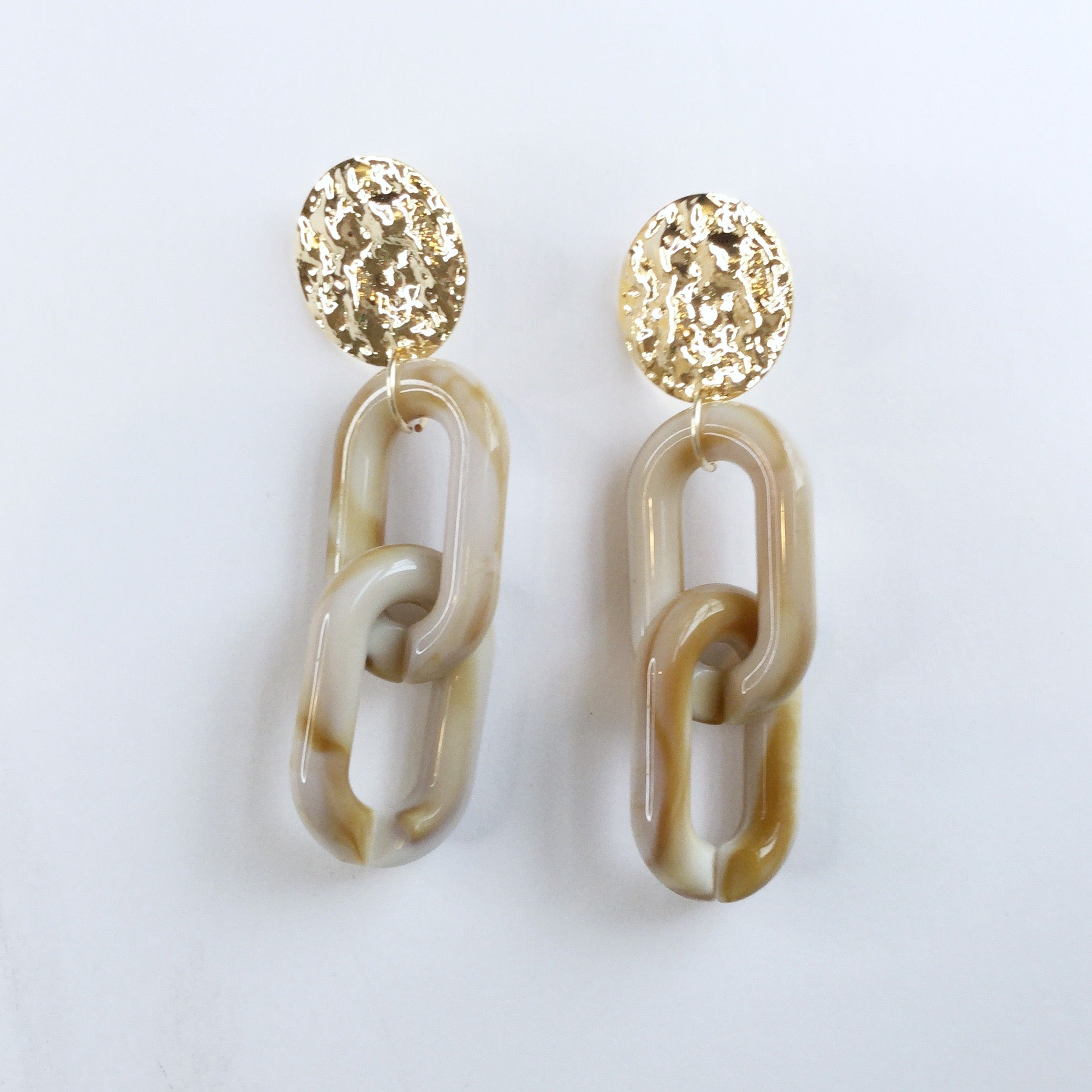 Ashley Acrylic Beige Marble Earrings - Oriana Lamarca LLC