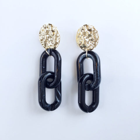 Ashley Acrylic Black Marble Earrings