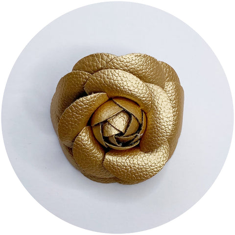Gold Leather Brooch
