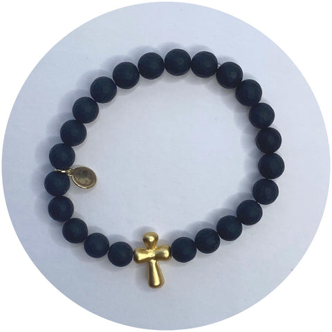 Mens Matte Black Lava with Gold Cross Accent