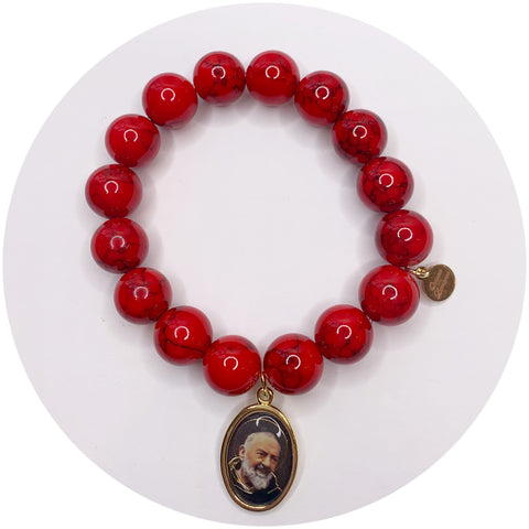 Red Riverstone with Padre Pio Pendant