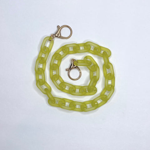Matte Lime Green Curb Chain Bag Strap