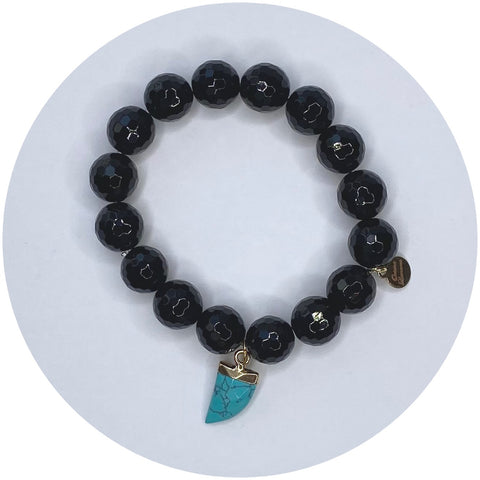 Black Onyx with Turquoise Horn Pendant