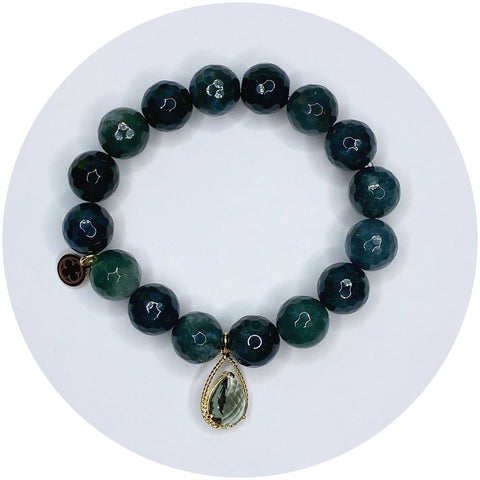 Moss Green Jade with Faceted Grey Glass Teardrop