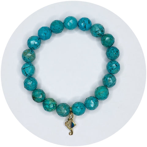 Green Turquoise Magnesite with Pavé Aladdin Lamp