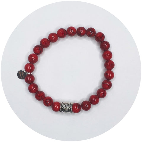 Mens Red Riverstone with Mickey Spacer