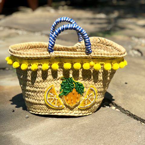 "Sicilian Lemon ""Coffa"" Straw Bag"