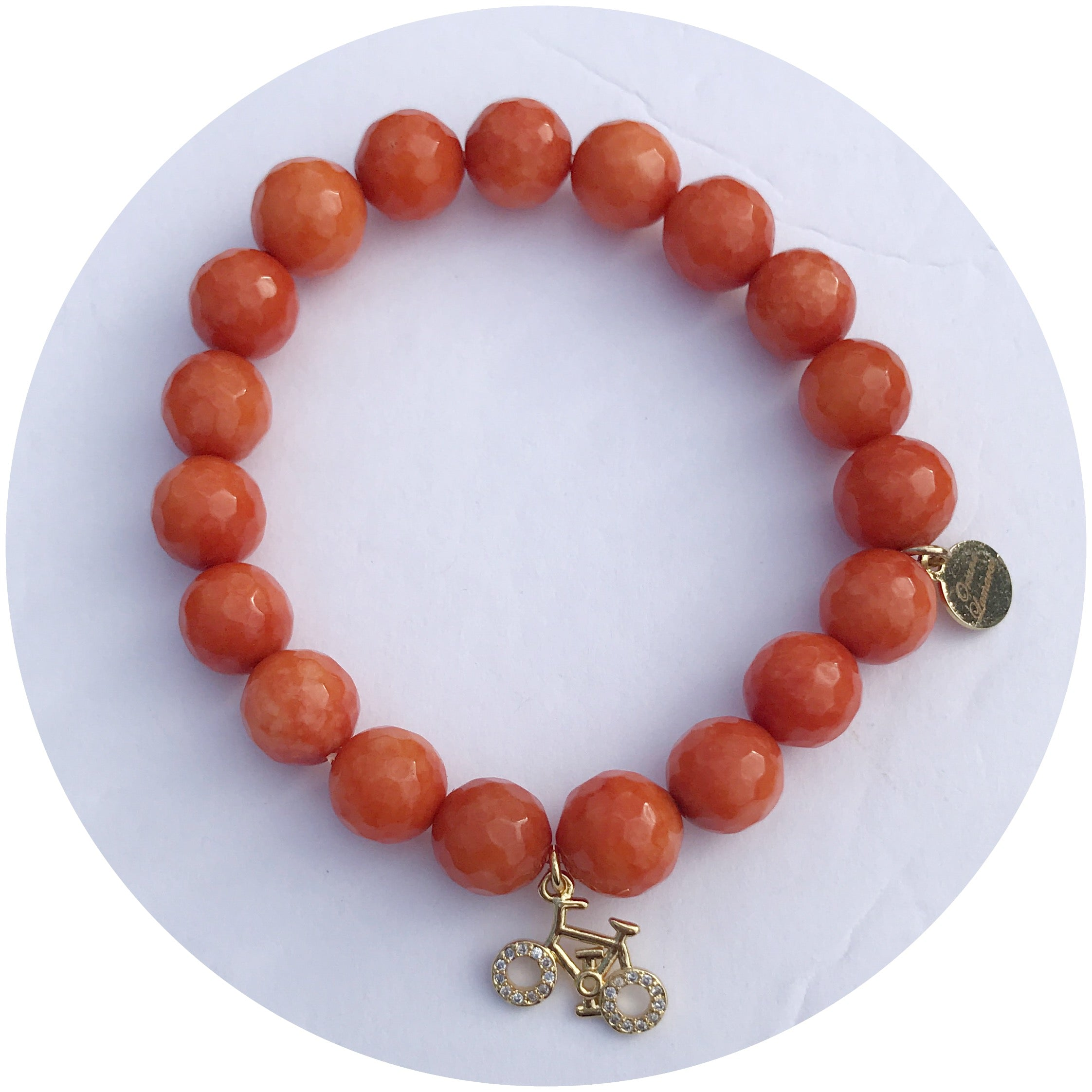 """Cycle For Survival"" Orange Jade with Pavé Bike - Oriana Lamarca LLC"