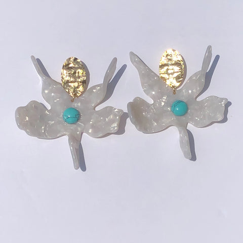 Wildflower Turquoise Acrylic Earrings