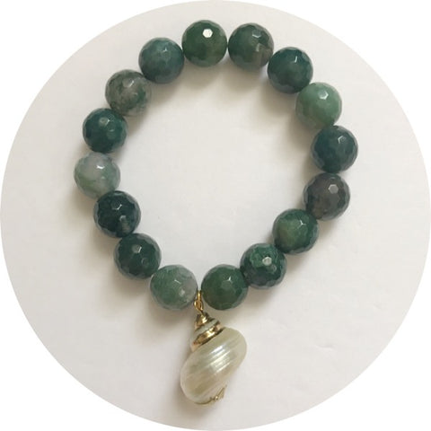 Moss Green Jade with Mother of Pearl Shell Pendant