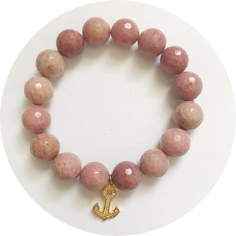 Rhodonite with Pavé Gold Anchor Pendant