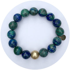 Azurite with Hammered Gold Accent - Oriana Lamarca LLC