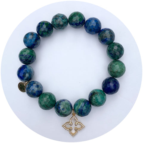 Azurite with Pavé Gold Clover