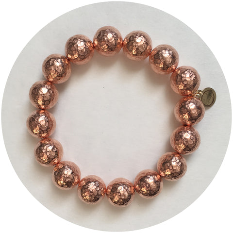 Hammered Rose Gold Plated Brass Bracelet - Oriana Lamarca LLC