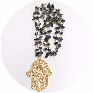 Black Agate Chain with Large Hamsa Necklace