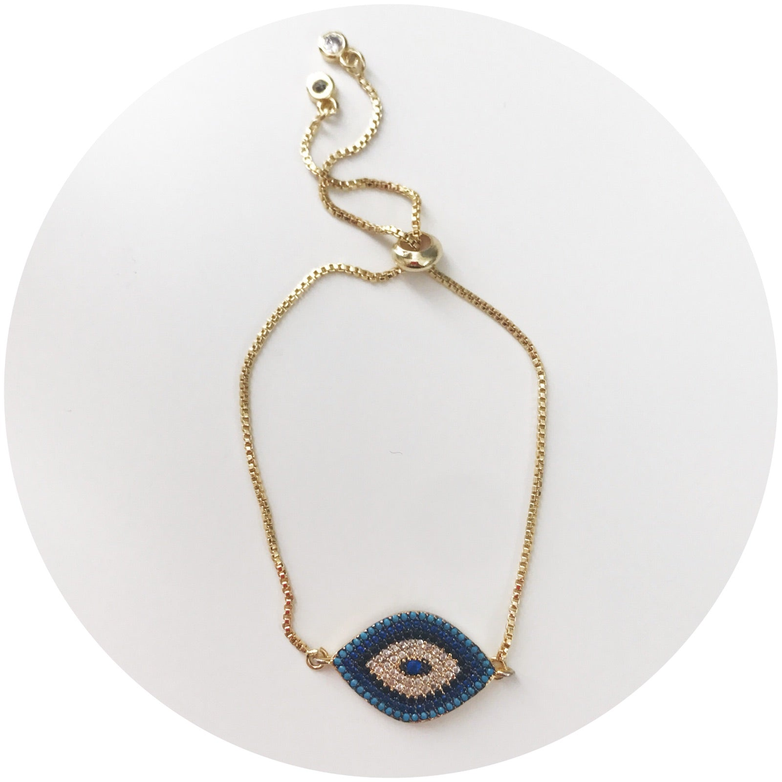 Blue Pavé Evil Eye with Adjustable Chain - Oriana Lamarca LLC