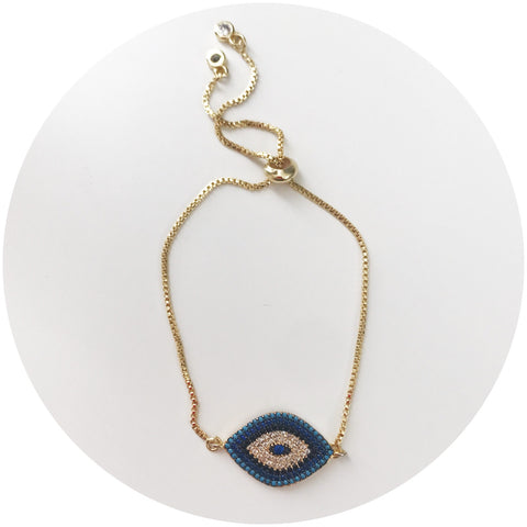 Blue Pavé Evil Eye with Adjustable Chain