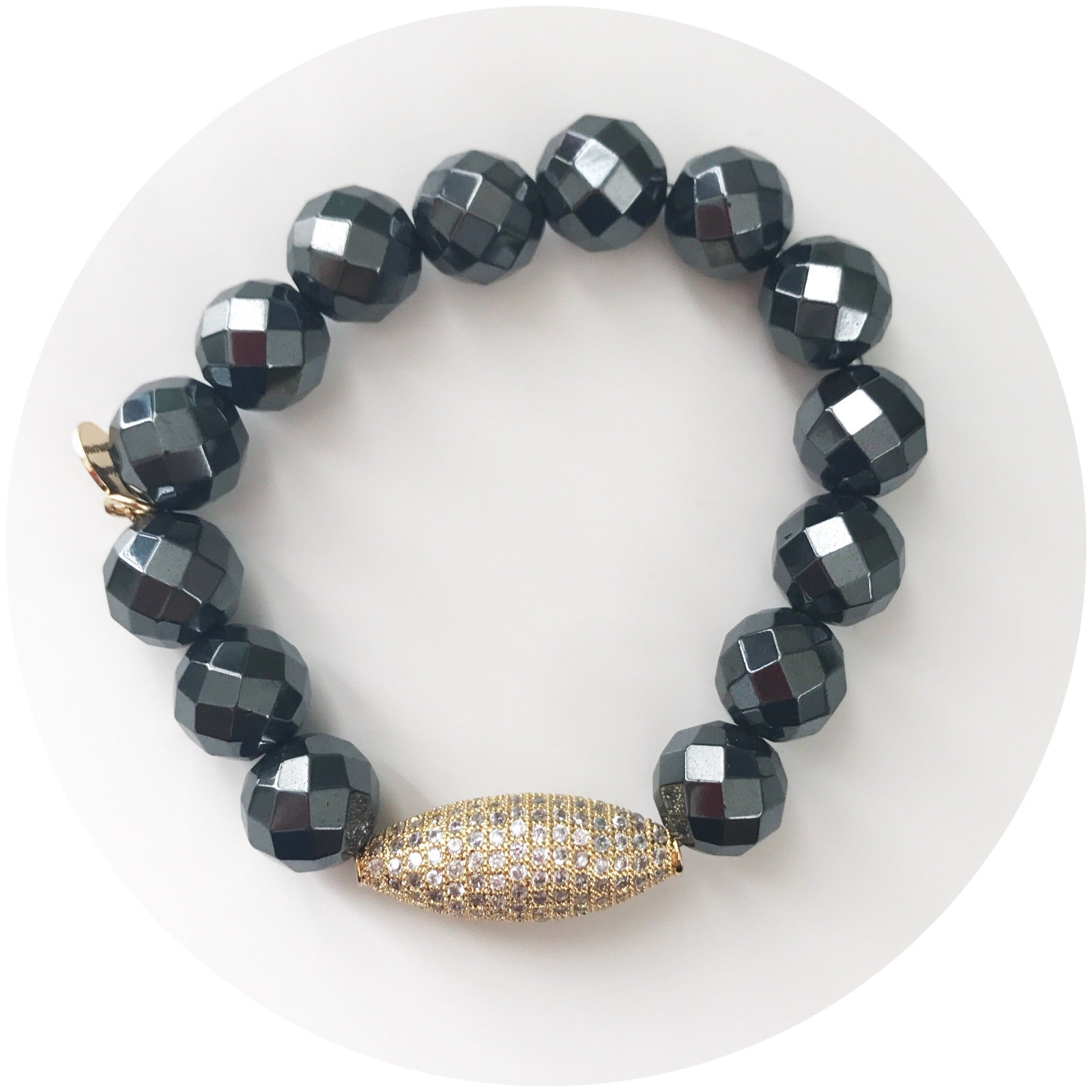 Hematite with Gold Pavé Dome
