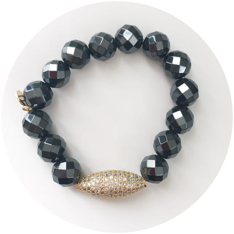 Hematite with Pavé Gold Dome