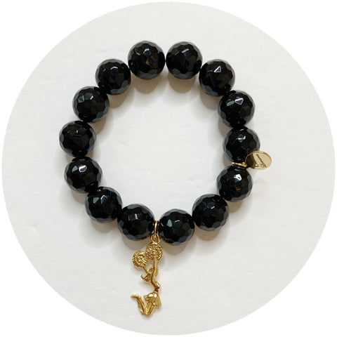 Children's Black Onyx with Gold Cheerleader Pendant