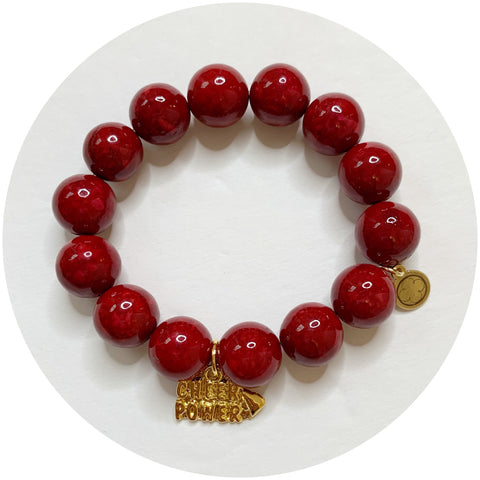 Children's Red Riverstone with Gold Cheer Power Pendant