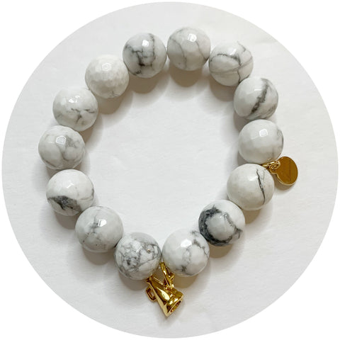 Children's White Howlite with Gold Cheer Megaphone
