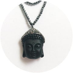 Hematite with Pavé Buddha Head Necklace