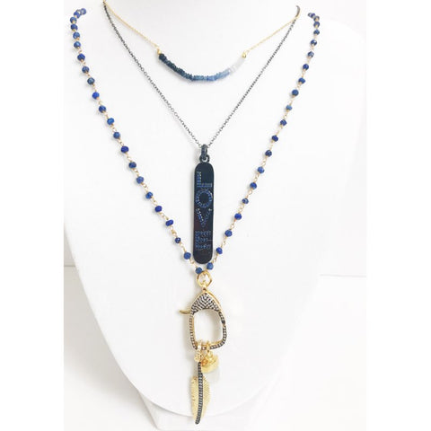 Lapis Gold Beaded Chain with Moonstone and Feather Pendant Necklace