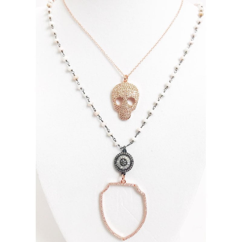 Pink Opal Beaded Chain with Rose Gold Shield Long Necklace - Oriana Lamarca LLC