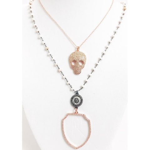 Pink Opal Beaded Chain with Rose Gold Shield Long Necklace