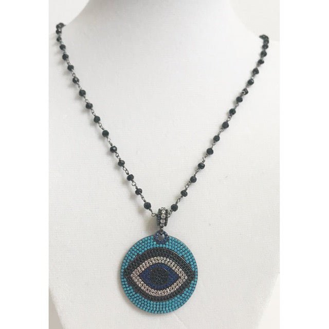 Black Onyx Beaded Chain with Evil Eye Pave Disk Necklace - Oriana Lamarca LLC