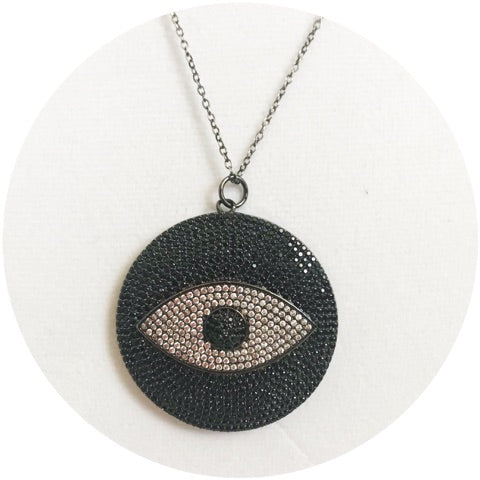 Black Pavè Eye Necklace