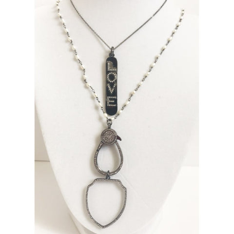 Pavé Gunmetal Love Brail Pendant Necklace