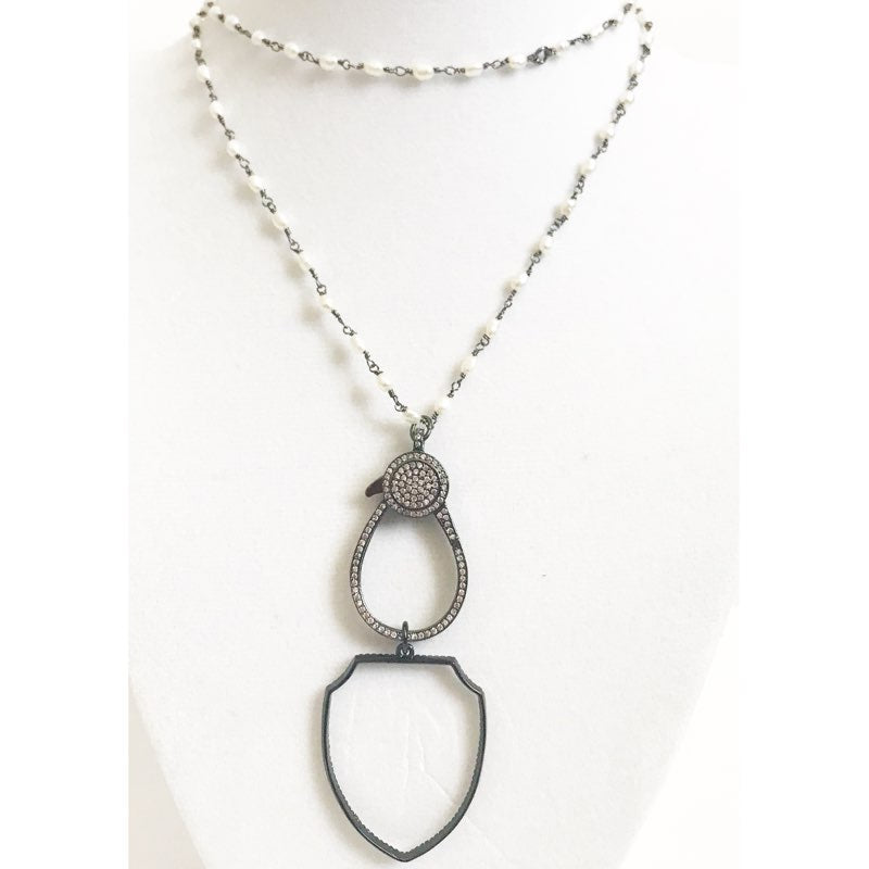 Freshwater Pearl Bead Chain with Gunmetal Shield Necklace - Oriana Lamarca LLC