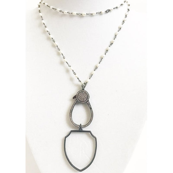 Freshwater Pearl Bead Chain with Gunmetal Shield Necklace