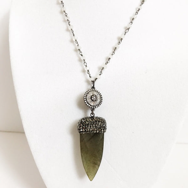 Moonstone Beaded Chain with Pavé Labradorite Dagger Necklace