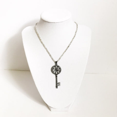 White Quartz Choker with Gunmetal Pavé Skeleton Key Pendant