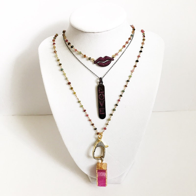 Watermelon Tourmaline with Pink Agate Pendant Necklace