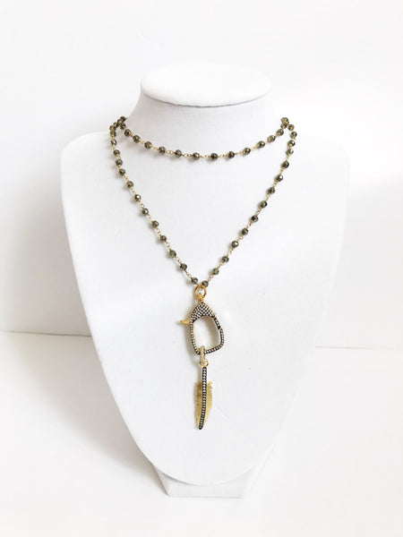 Pyrite Beaded Chain with Pavé Feather Pendant Necklace