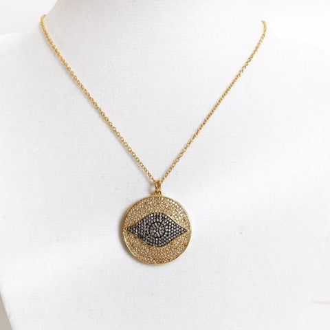 Gold Two Tone Pavé Evil Eye Necklace