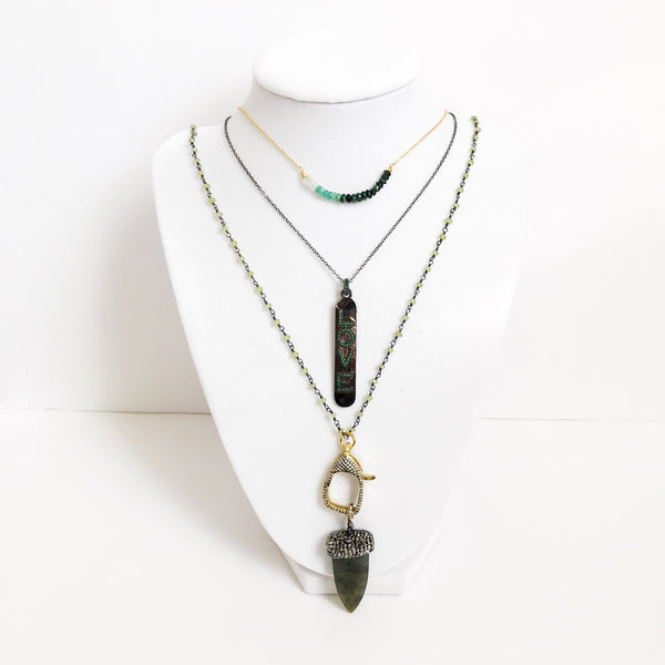 Peridot Beaded Chain with Pavé Labradorite Dagger Pendant Necklace